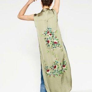 Zara Satin Embroidered Kimono Vest